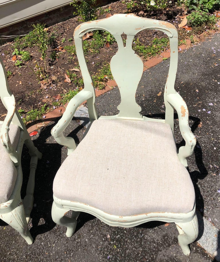 Pair of 19th Century Painted Swedish Armchairs In Good Condition For Sale In Charleston, SC