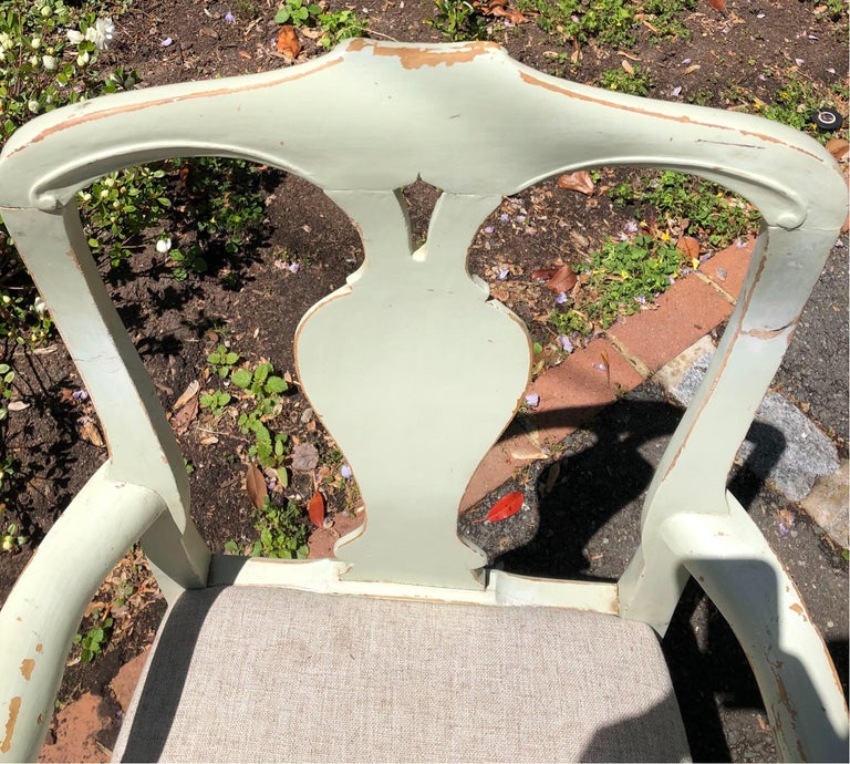 Pair of 19th Century Painted Swedish Armchairs For Sale 1