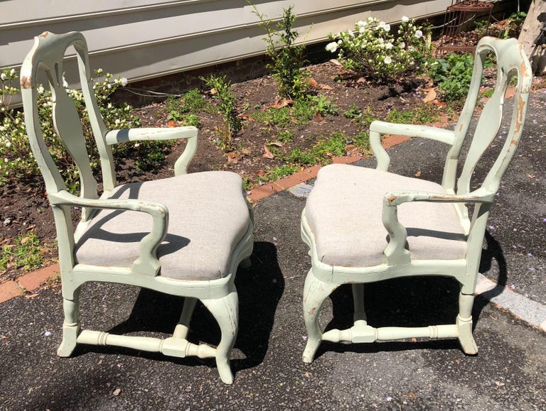 Pair of 19th Century Painted Swedish Armchairs For Sale 2