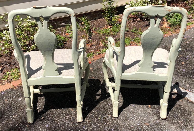 Pair of 19th Century Painted Swedish Armchairs For Sale 3