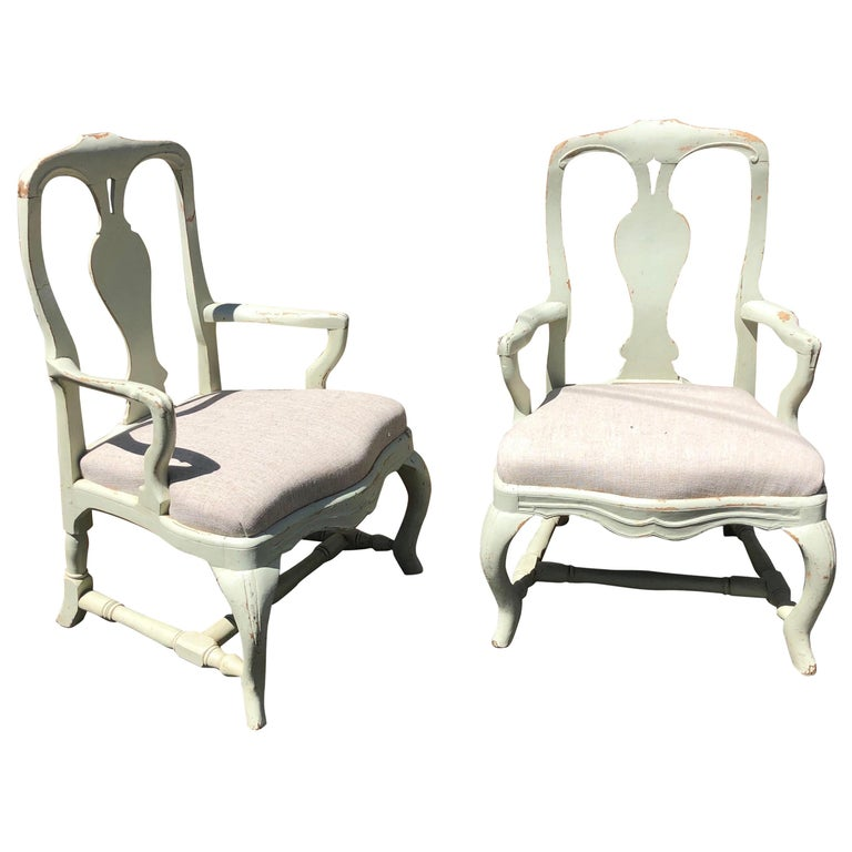 Pair of 19th Century Painted Swedish Armchairs For Sale