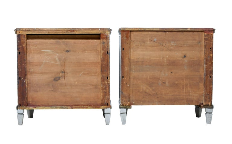 Hand-Painted Pair of 19th Century Painted Swedish Commodes For Sale