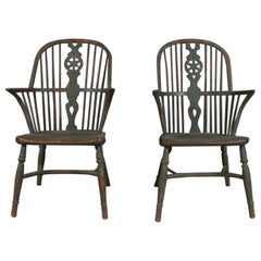 Pair of 19th Century Painted Windsor Chairs