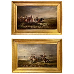 Pair of 19th Century Palatial Oil on Canvas Paintings Signed