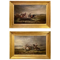 Pair of 19th Century Palatial Oil on Canvas Paintings Signed Paul Ritter