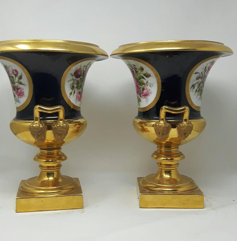 French Pair of 19th Century Paris Campana Vases For Sale