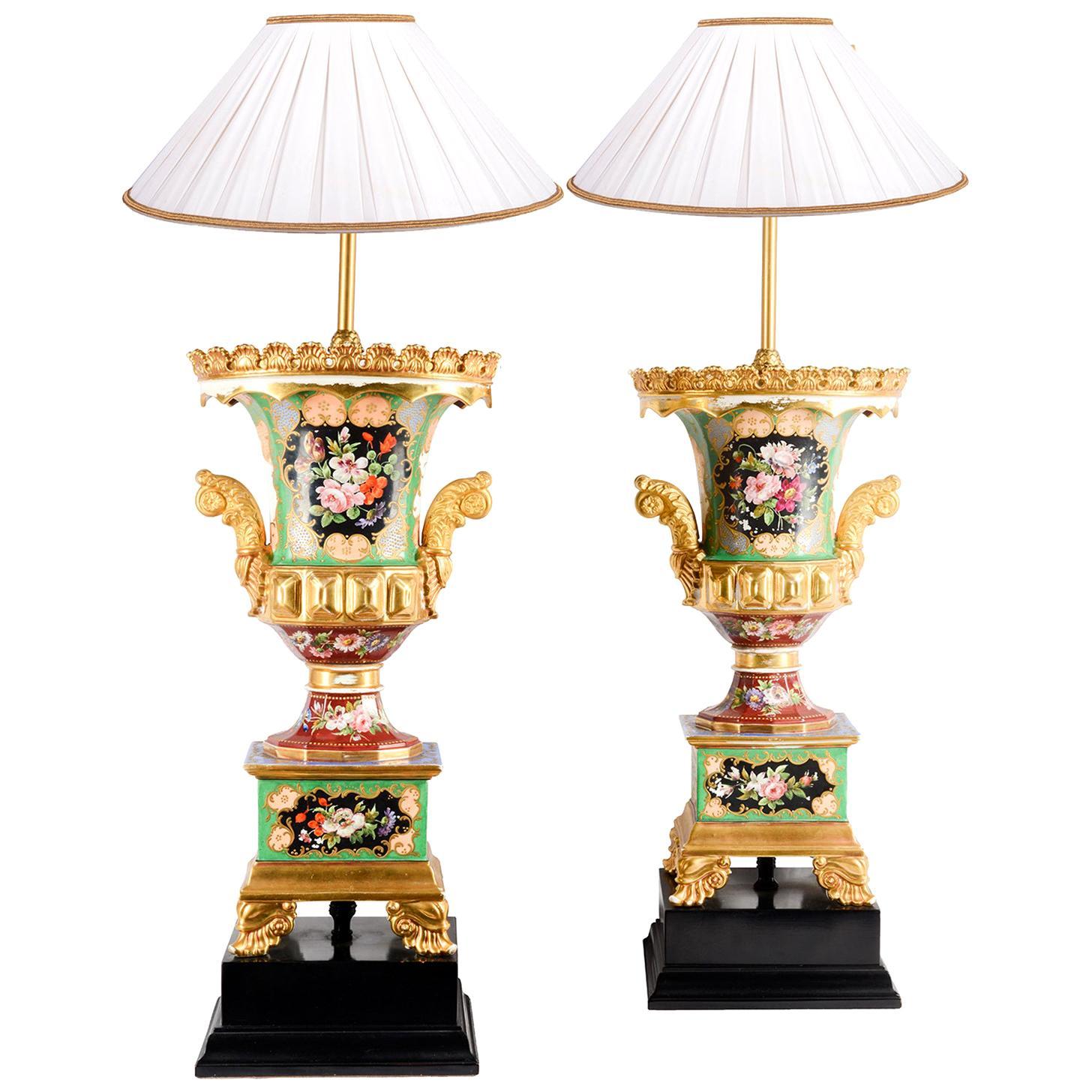 Pair of 19th Century Paris Porcelain Urn / Lamps