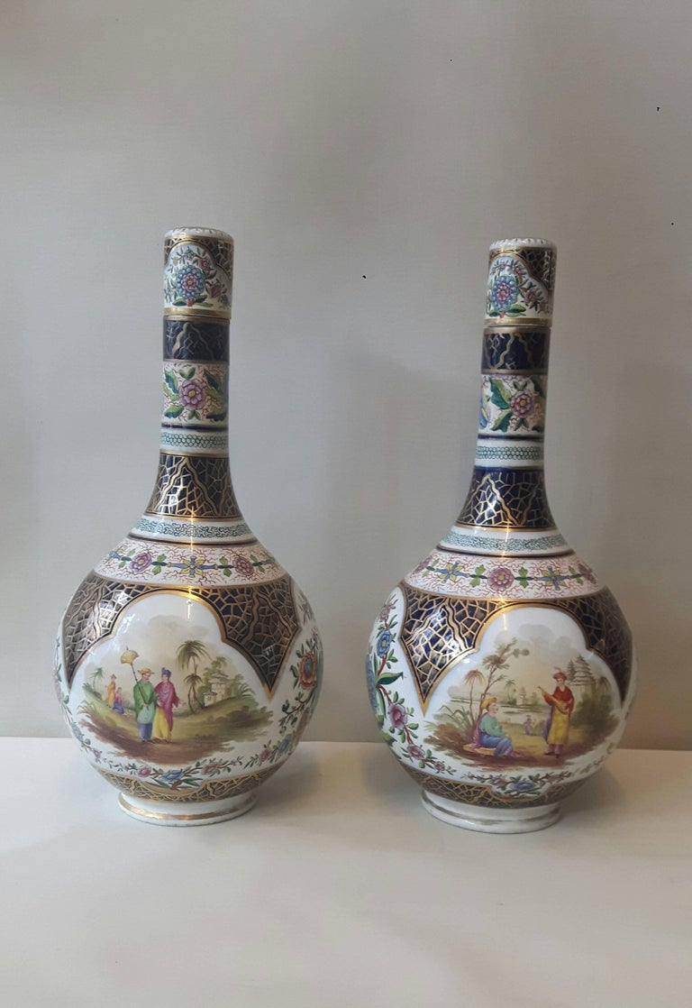 French Pair of 19th Century Paris Vase For Sale