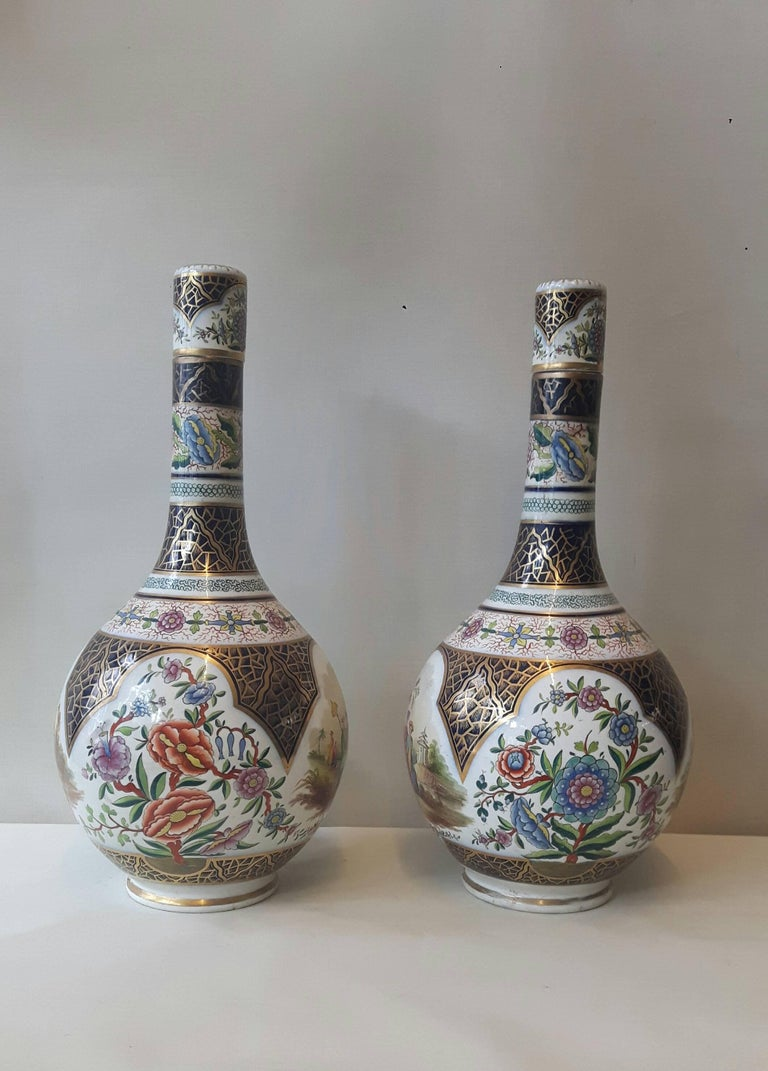 Glazed Pair of 19th Century Paris Vase For Sale