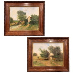 Pair of 19th Century Pastoral Paintings on Canvas in Carved Frames Signed Dalin