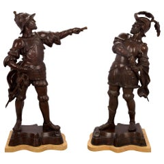 Pair of 19th Century Patinated Bronze and Sienna Marble Warrior Statues