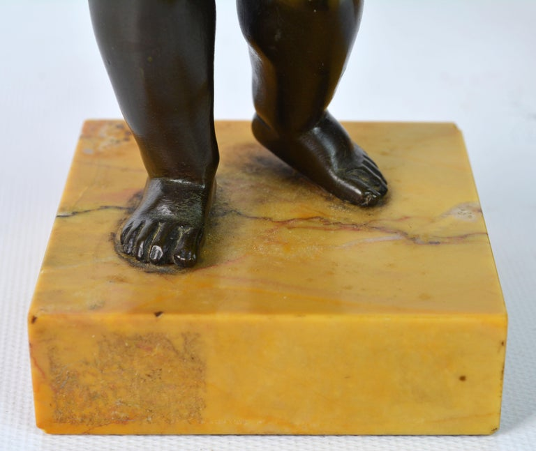Pair of 19th Century Patinated Bronze Putti as Harvesters on Sienna Marble Bases For Sale 8