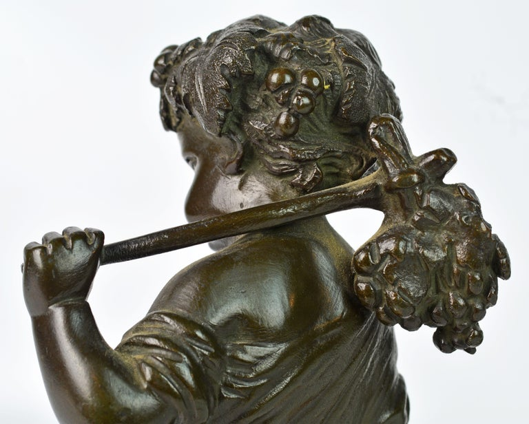 Pair of 19th Century Patinated Bronze Putti as Harvesters on Sienna Marble Bases For Sale 3