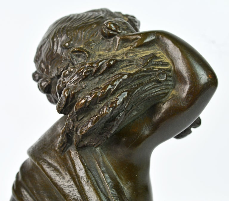 Pair of 19th Century Patinated Bronze Putti as Harvesters on Sienna Marble Bases For Sale 4