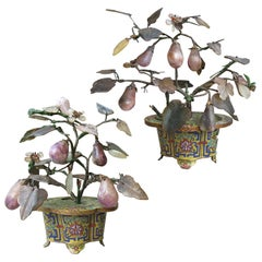 Pair of 19th Century Pear Fruit Hardstone Trees in Cloisonné Planters