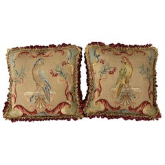 Pair of 19th Century Petit Point Panels over Mid-20th Century Pillows