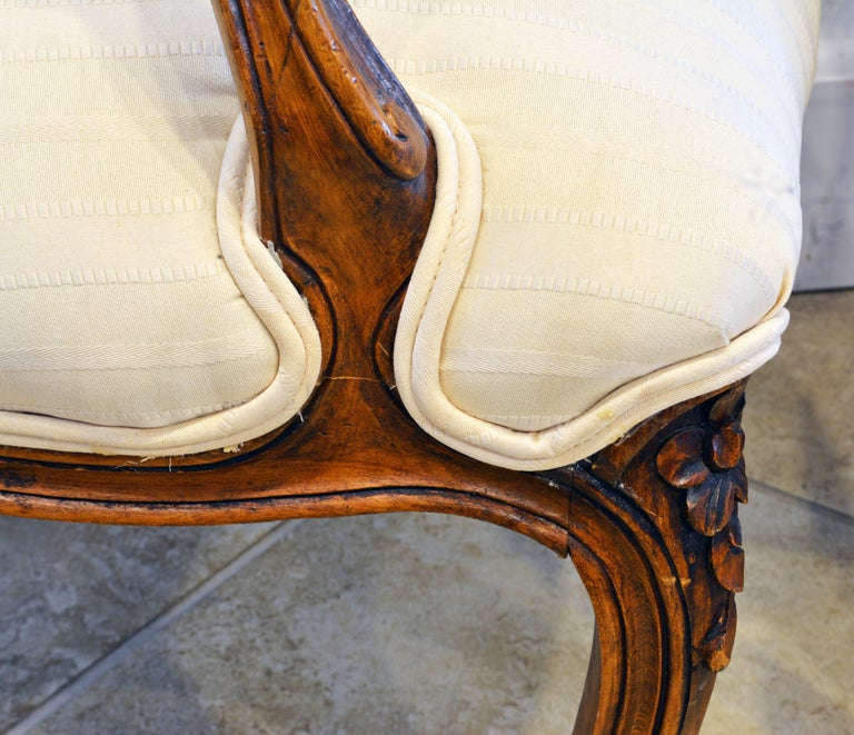 Pair of 19th Century Petite French Louis XV Style Carved Upholstered Armchairs For Sale 7