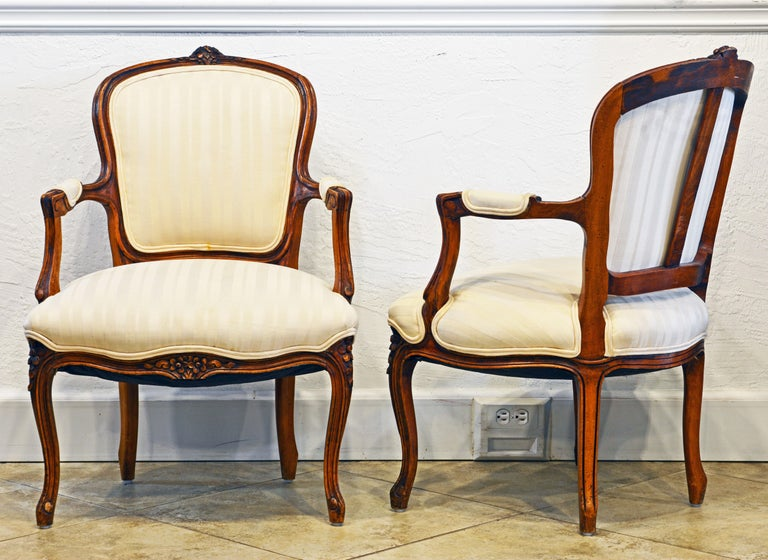 Pair of 19th Century Petite French Louis XV Style Carved Upholstered Armchairs In Good Condition For Sale In Ft. Lauderdale, FL