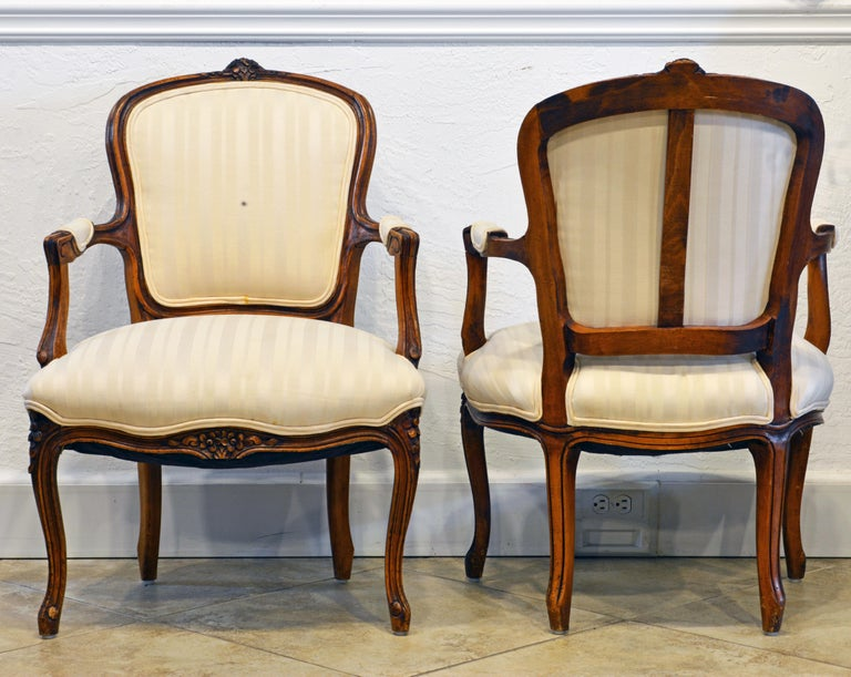 Fabric Pair of 19th Century Petite French Louis XV Style Carved Upholstered Armchairs For Sale