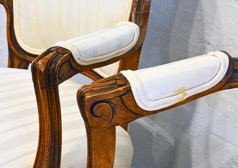 Pair of 19th Century Petite French Louis XV Style Carved Upholstered Armchairs For Sale 1