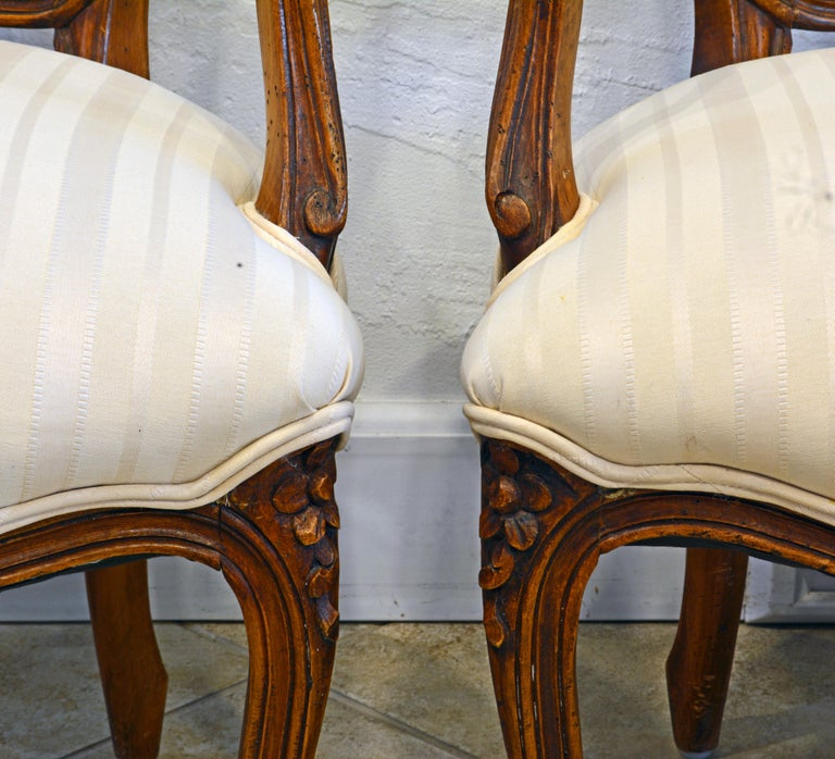 Pair of 19th Century Petite French Louis XV Style Carved Upholstered Armchairs For Sale 4