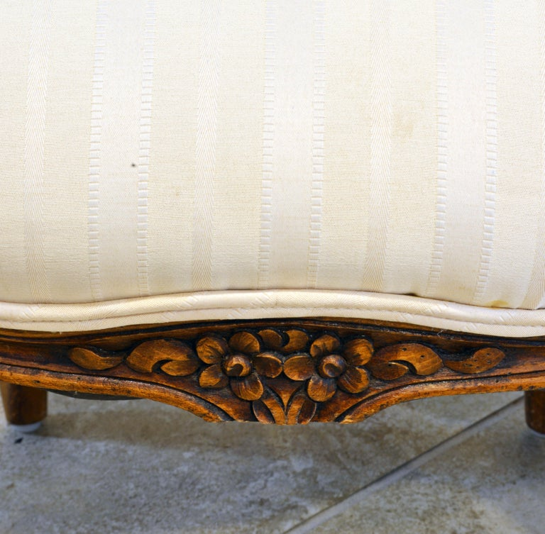 Pair of 19th Century Petite French Louis XV Style Carved Upholstered Armchairs For Sale 5