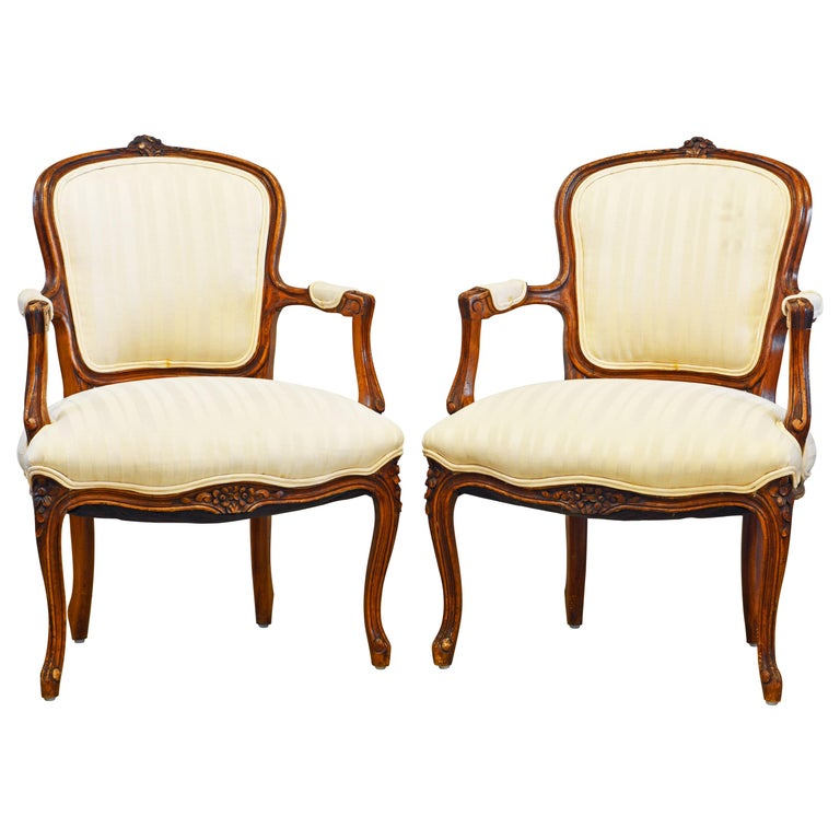 Pair of 19th Century Petite French Louis XV Style Carved Upholstered Armchairs For Sale