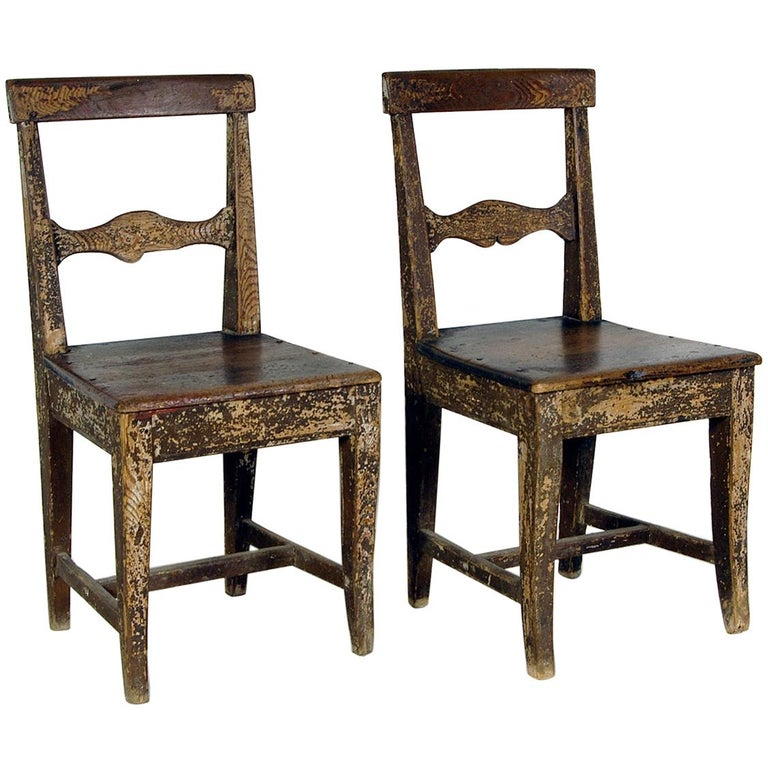 Pair Of 19th Century Pitch Pine Swedish Vernacular Chairs In