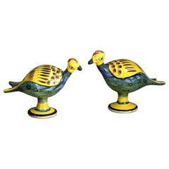 Pair of 19th Century Polychrome Pottery Birds