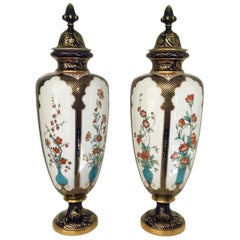 Pair of 19th Century Porcelain Royal Worcester Japonesque Vases Dated 1896-1897