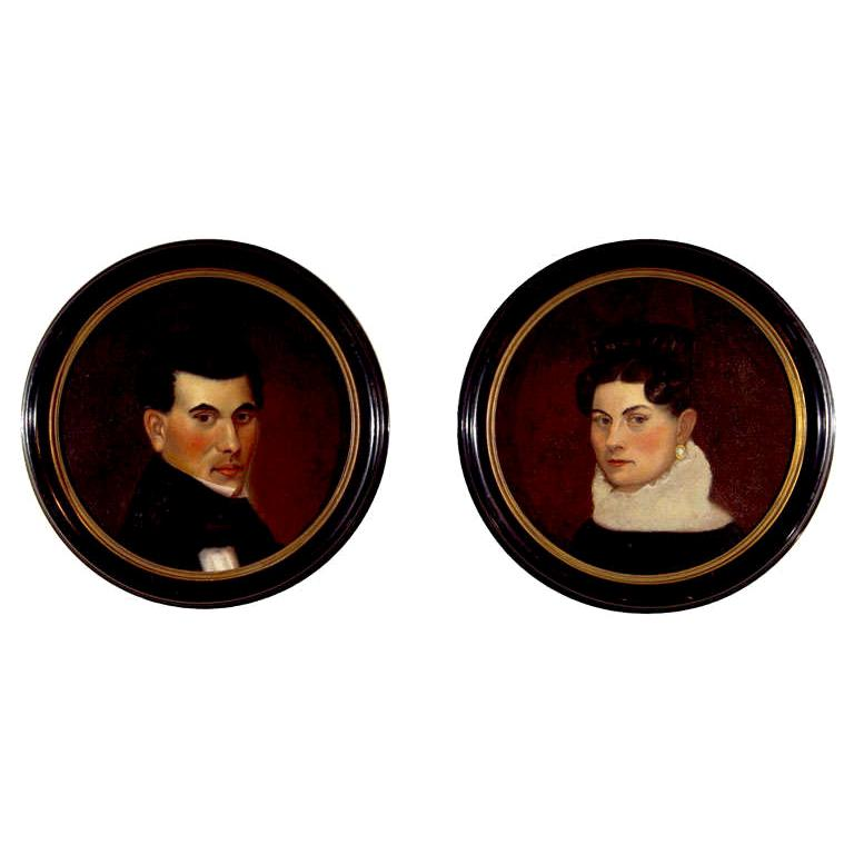 Pair of 19th Century Portraits For Sale