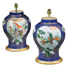 Pair of 19th Century Powder Blue Famille Verte Vases Now Mounted as Lamps