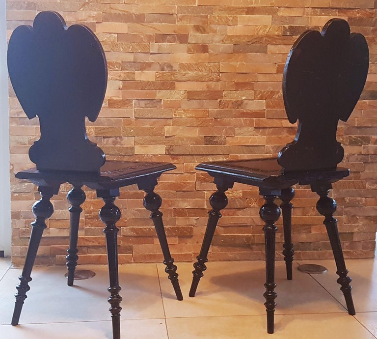 Pair of 19th Century Primitive Rustic Minimal Carved Wood Board Chairs For Sale 6
