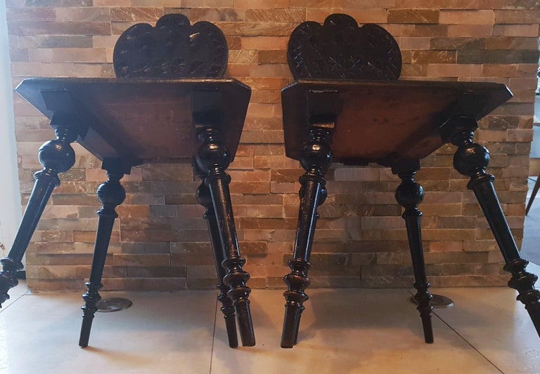Pair of 19th Century Primitive Rustic Minimal Carved Wood Board Chairs For Sale 14