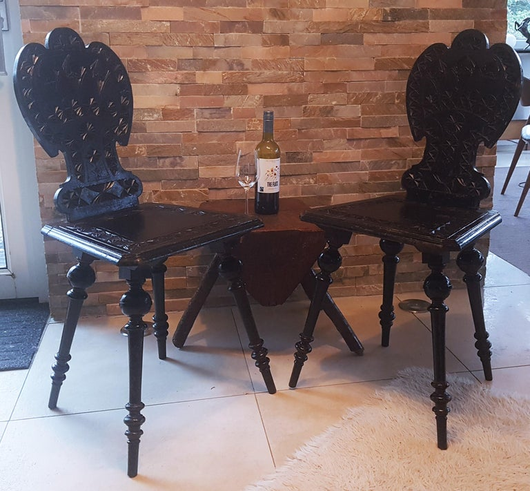 Austrian Pair of 19th Century Primitive Rustic Minimal Carved Wood Board Chairs For Sale