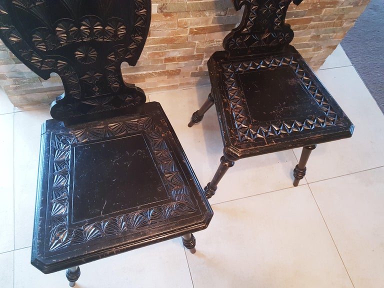 Pair of 19th Century Primitive Rustic Minimal Carved Wood Board Chairs For Sale 1