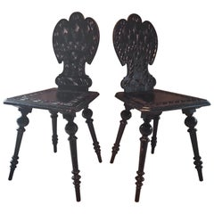Pair of 19th Century Primitive Rustic Minimal Carved Wood Board Chairs