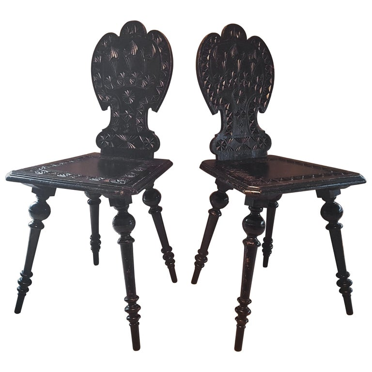 Pair of 19th Century Primitive Rustic Minimal Carved Wood Board Chairs For Sale