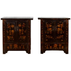 Pair of 19th Century Qing Dynasty Black Lacquered Cabinets with Chinoiseries