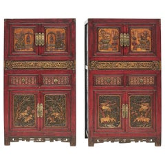 Pair of 19th Century Qing Dynasty Richly Carved Wooden Cabinet's