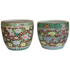 Pair of 19th Century Red and Green, Hand-Painted, Jardinières