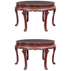 Pair of 19th Century Red Lacquer Chinese Demilune Tables