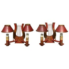Pair of 19th Century Red Tole Lyre Form Two-Arm Sconces with Shades