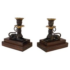 Pair of 19th Century Regency Bronze and Ormolu Sphinx Candlesticks