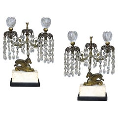Pair of 19th Century Regency Crystal and Bronze Girandoles on Marble Bases