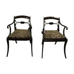 Pair of 19th Century Regency Ebonized Armchairs, Old Painted Finish
