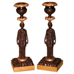 Pair of 19th Century Regency Period Bronze & Ormolu Lady Candlesticks