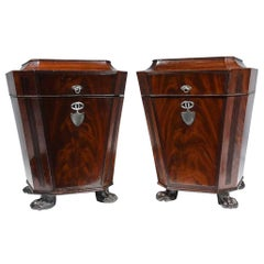 Pair of 19th Century Regency Sarcophagus Shaped Cutlery Urn Boxes