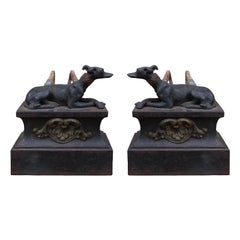 Pair of 19th Century Regency Style Iron Whippet Andirons