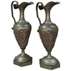 Pair of 19th Century Renaissance Brass Ewers with Bronze Four Season Cameos